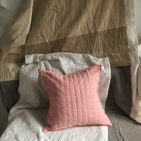 Image of Madder - Chalk pink quilted cushion