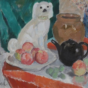Image of Swedish Painting, 'Dog and Apples,' Wiwi Moller-Lindquist (1910 - 1995)