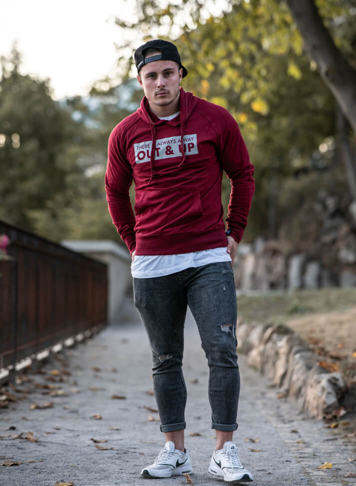 Image of OUT&UP HOODIE | bordeaux