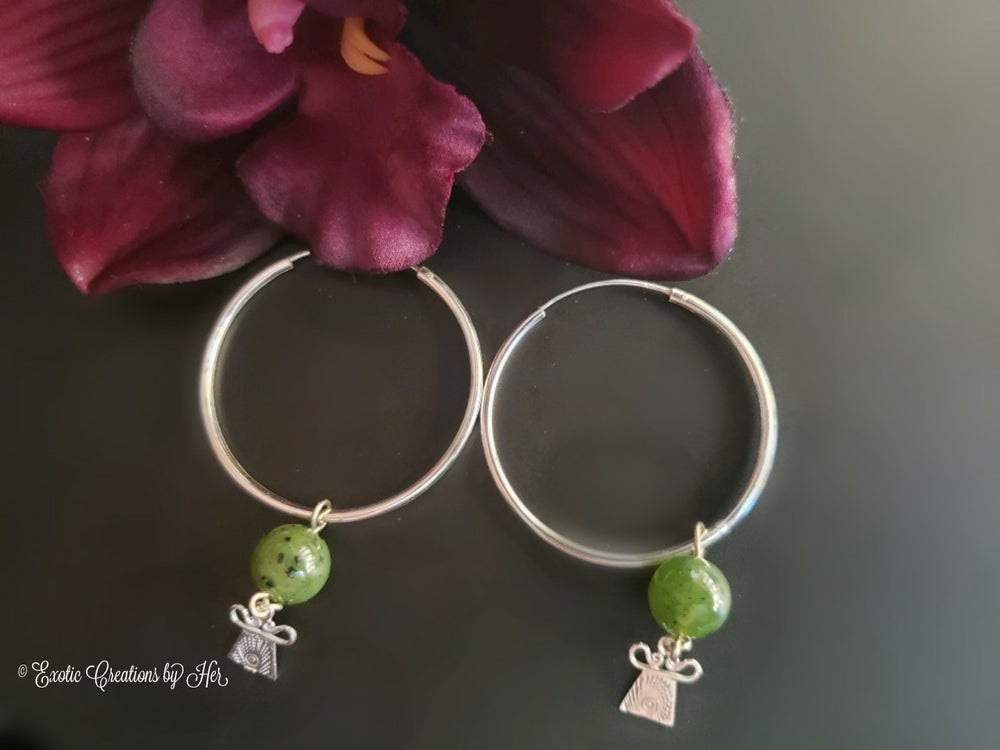 Jade amulet Hoop Earrings