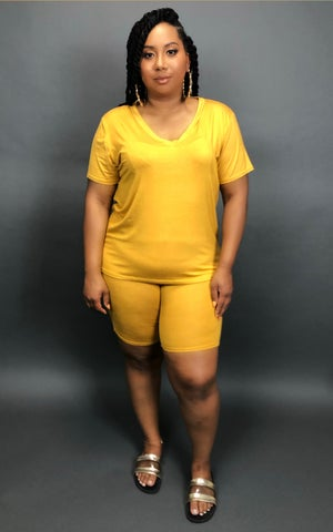 Image of Mustard 2pc Chill Set (Plus Size)