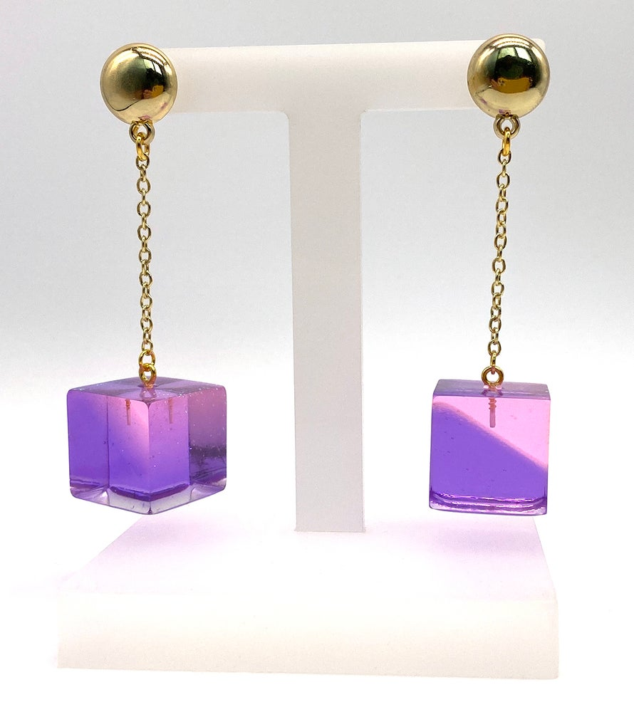 Image of Pinky Mod Cube earrings