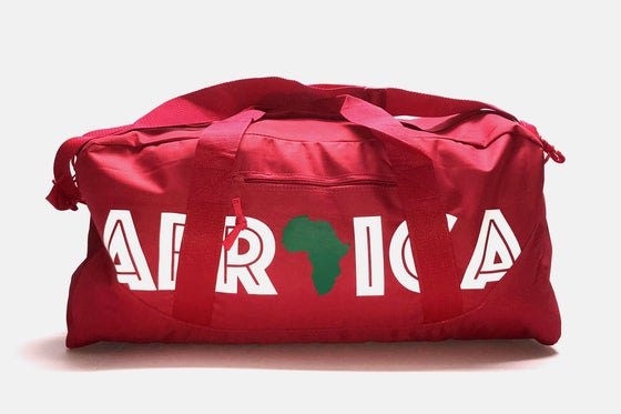 "Image of World Tour ""Africa"" Duffel Bag Red 27"""