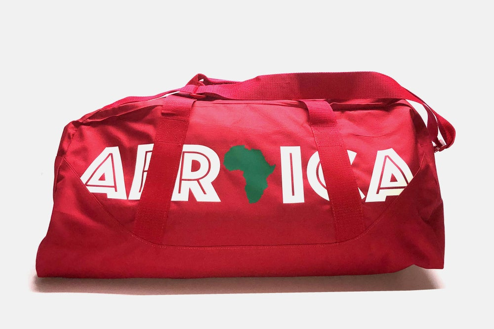 """Image of World Tour """"Africa"""" Duffel Bag Red 27"""""""