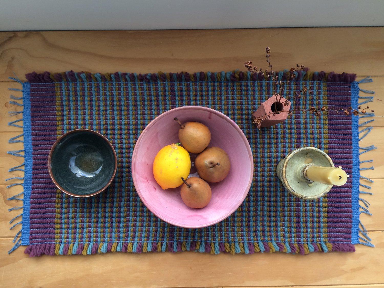 Image of Table Runner • Stripes: Bordeaux / Ochre /Helio Turquoise