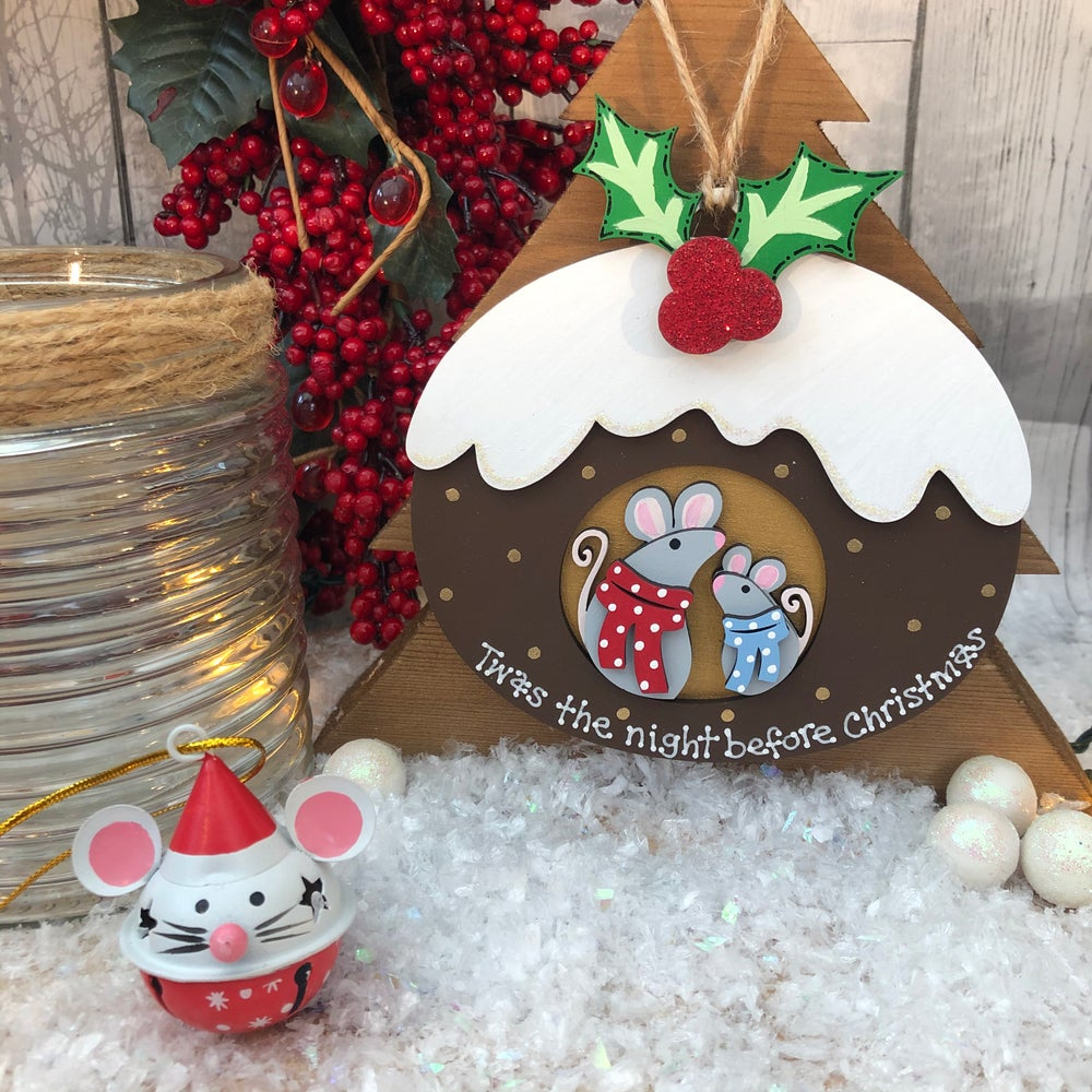 Image of Christmas Pudding with cute mice