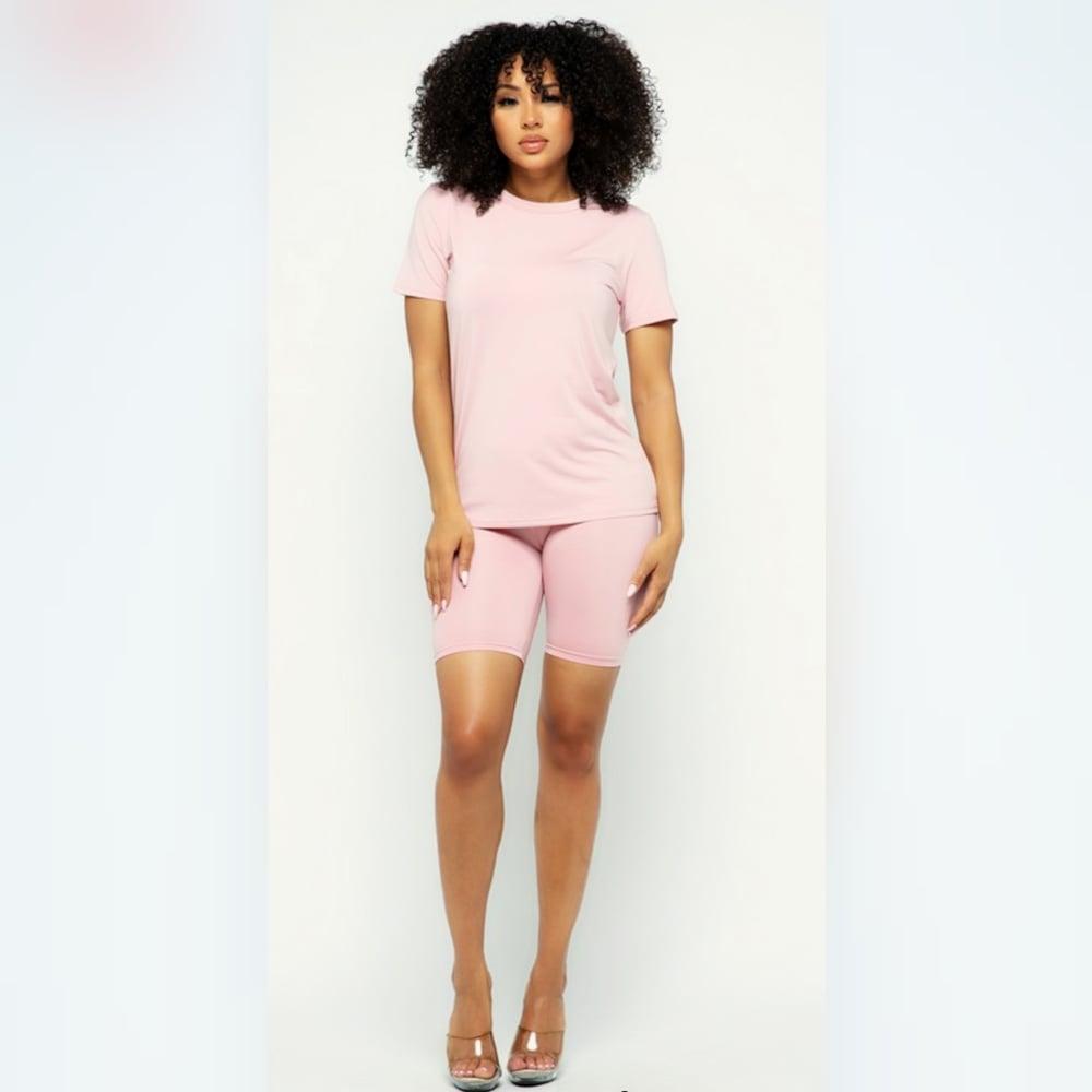Image of Casual Biker Shorts Set (Pink)