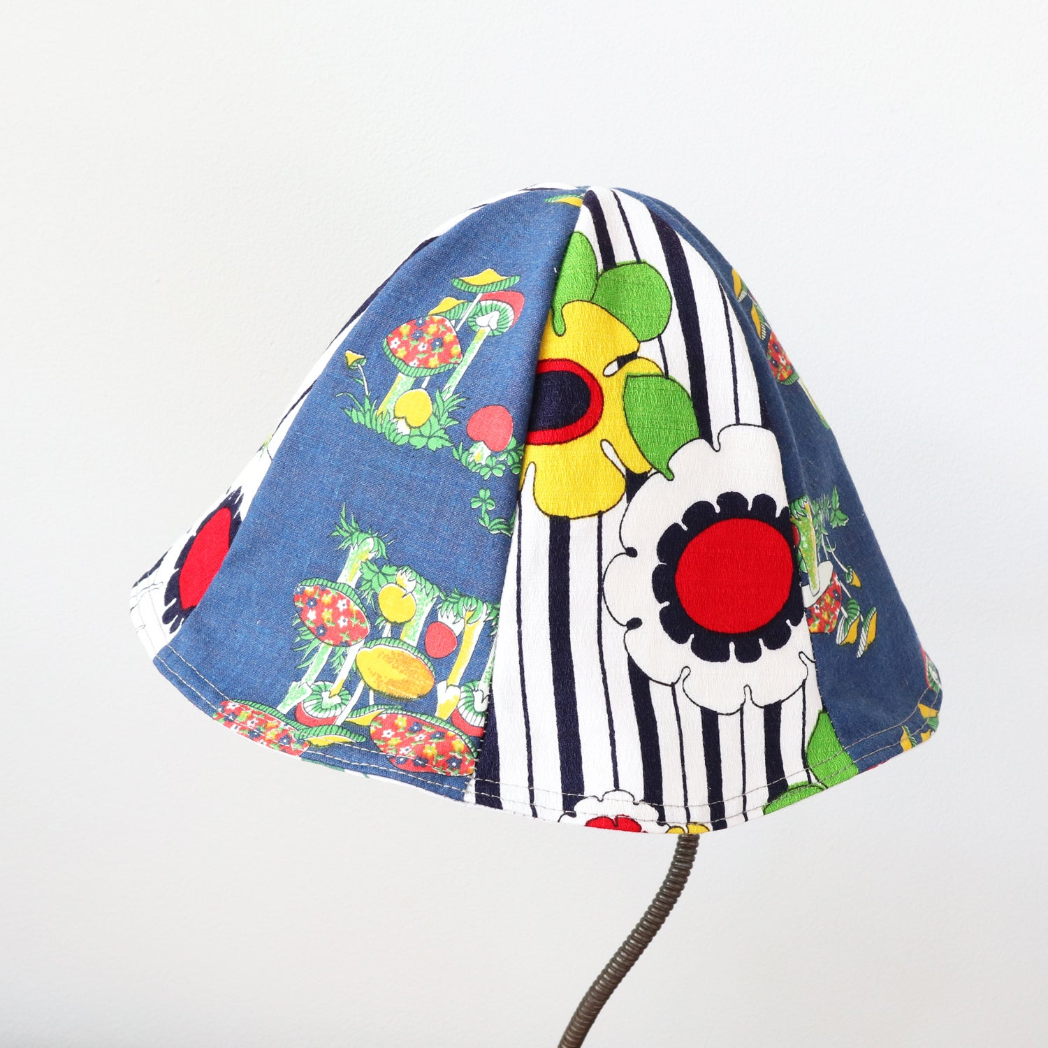 Image of shrooms floral mushrooms  tween teen adult vintage fabric six panel bucket hat buckethat sunhat