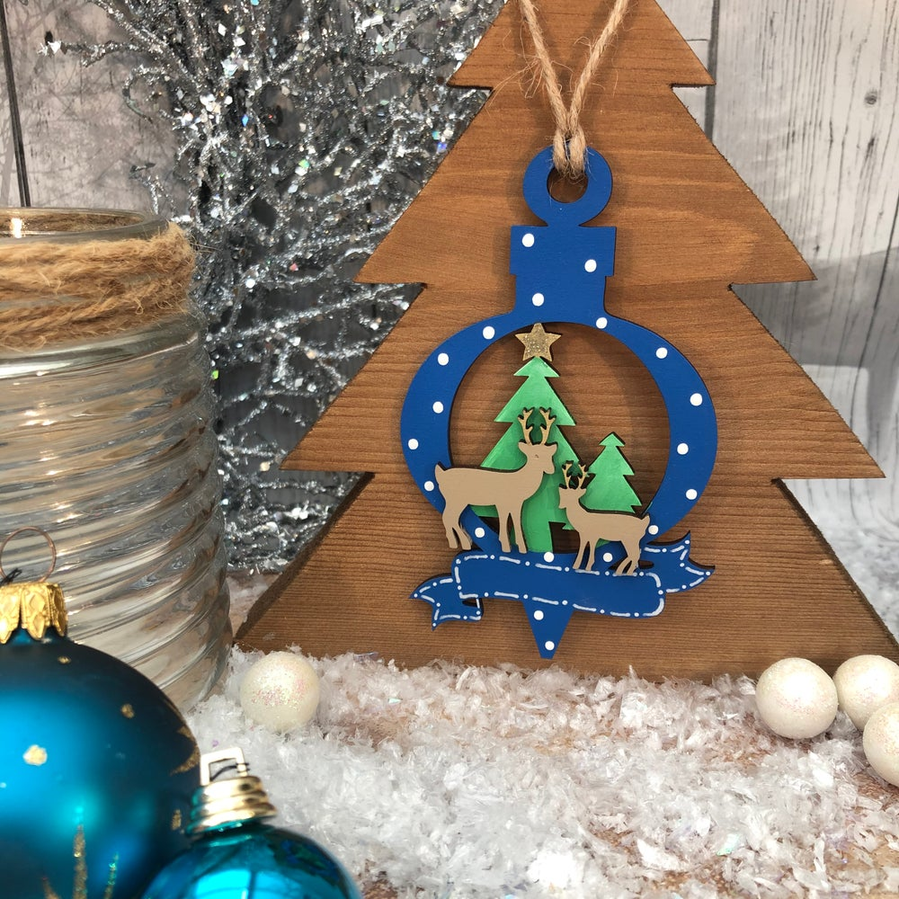 Image of Deer Bauble with banner