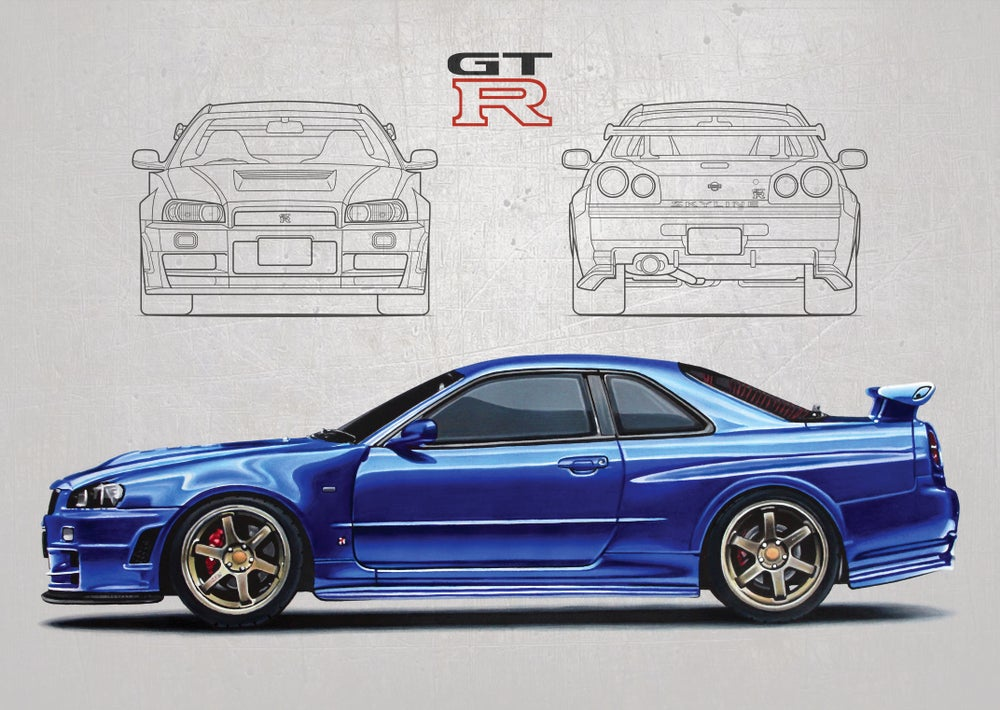 Image of Nissan Skyline GT-R (R34) Poster Print