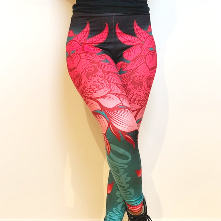 Image of Slowdown Flower Skull Leggings