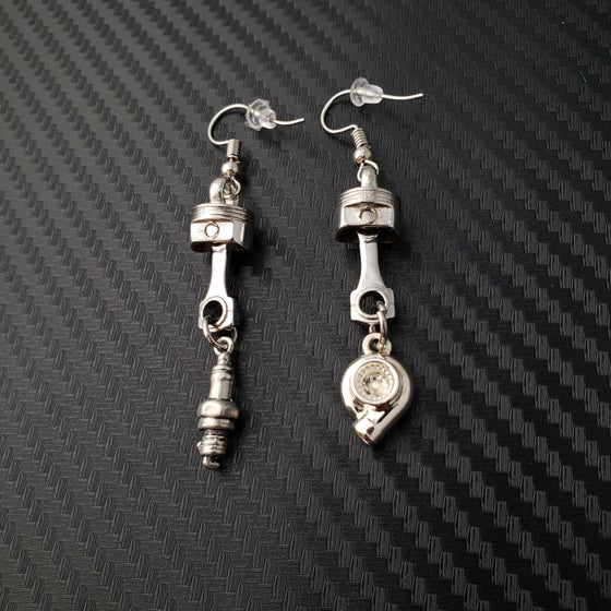 Image of Piston w/ Car Part Dangle Earrings