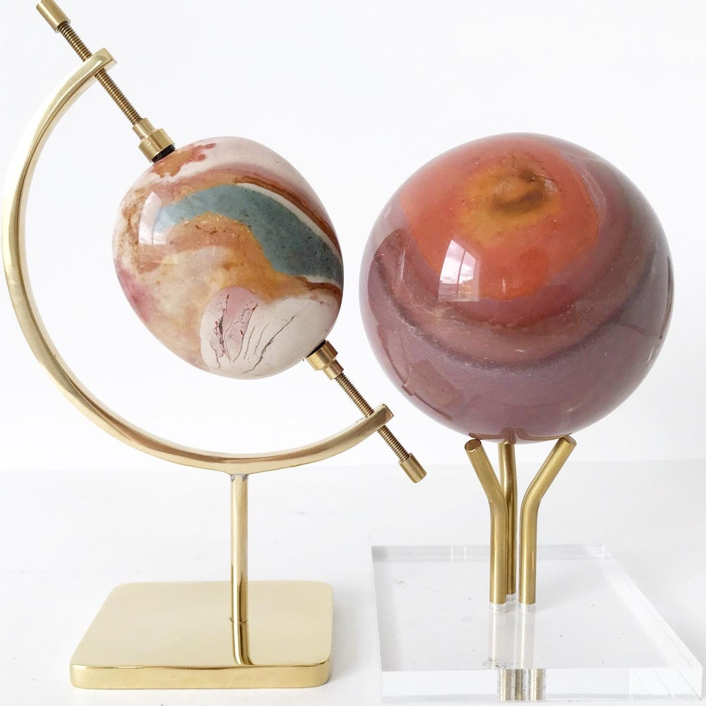 Image of Polychrome Jasper no.55 + Three Prong Lucite and Brass Stand