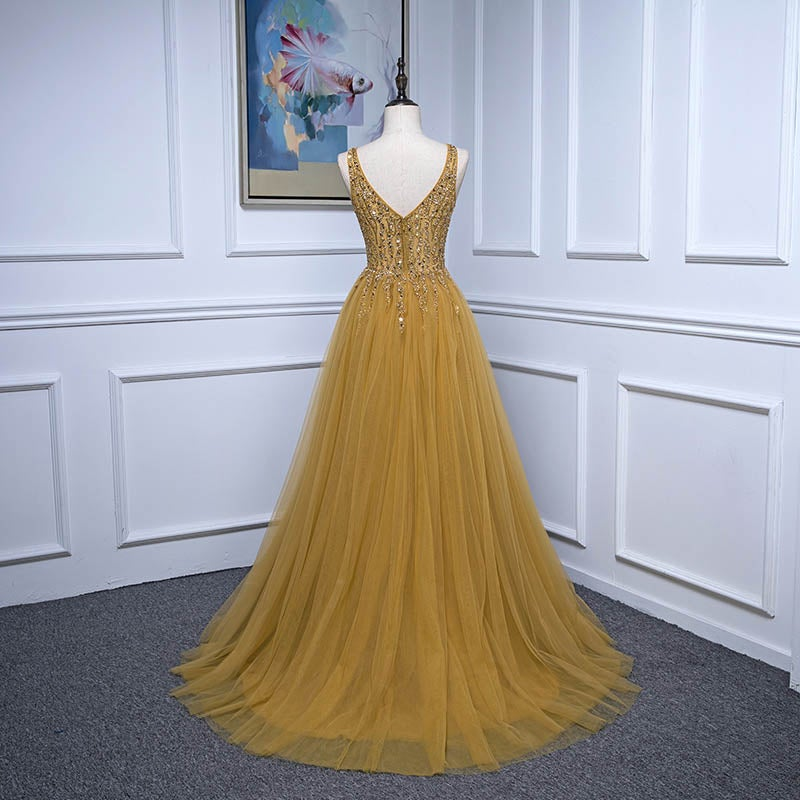 Beautiful Handmade Beaded Tulle Slit Long Prom Dress, A-line Formal Dress