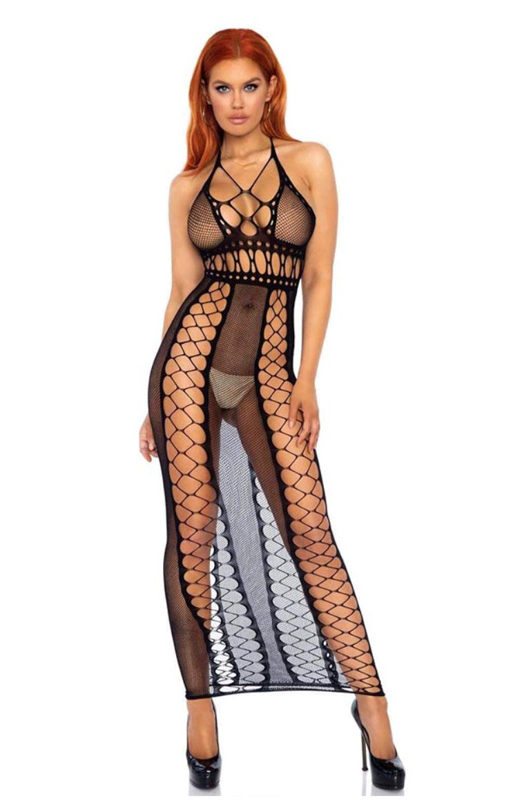 Image of #Foxx Fishnet Backless Halter Maxi Dress