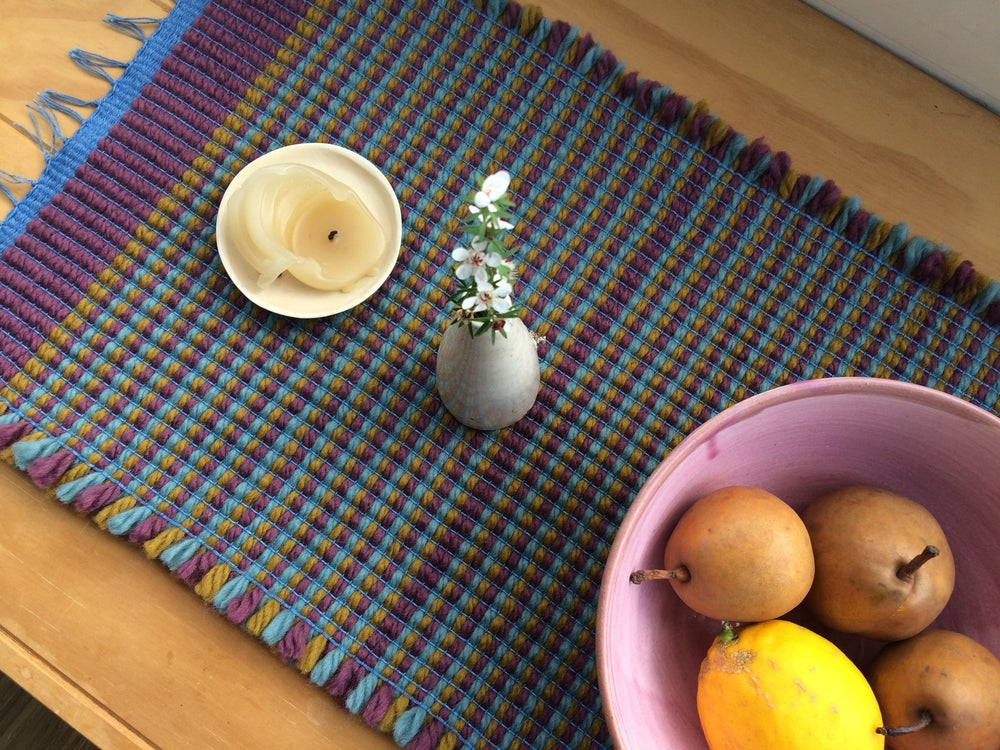 Image of Table Runner • Stripes: Bordeaux / Ochre /Helio Turquoise