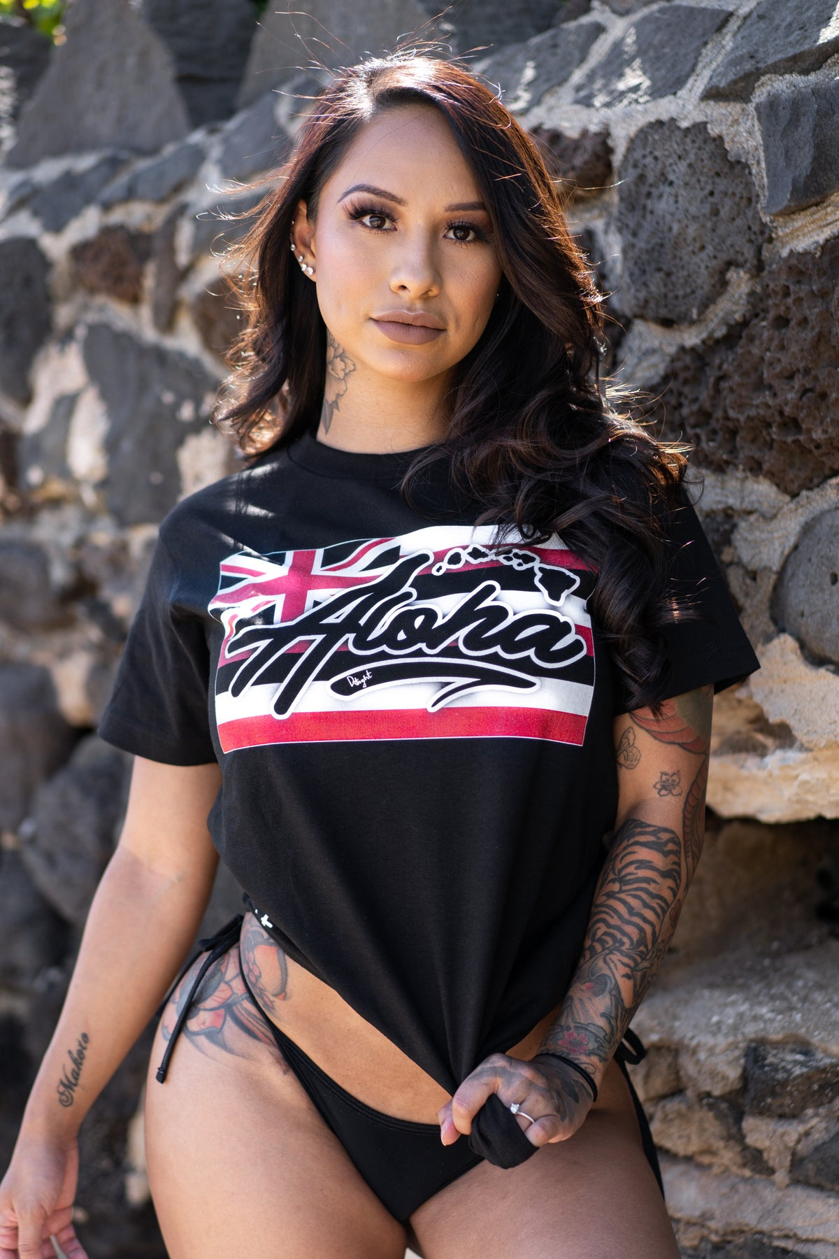 Aloha Islands Flag Tee (Black)