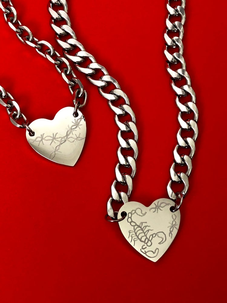 Image of HAND ENGRAVED HEART CHOKER