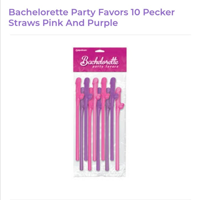 Image of Bachelorette Pink and Purple Dick Straws