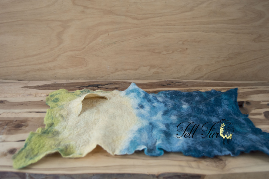 Image of Beautiful Beach Scene Felted Layer (SP18),  Newborn Photography Wool Prop. Size 60x40. Ready to Ship