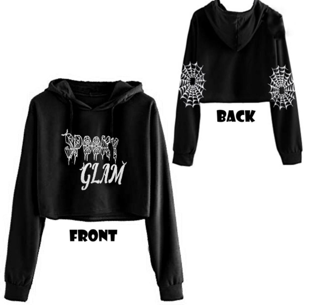 Image of Spooky Glam GLITTER Cropped Hoodie