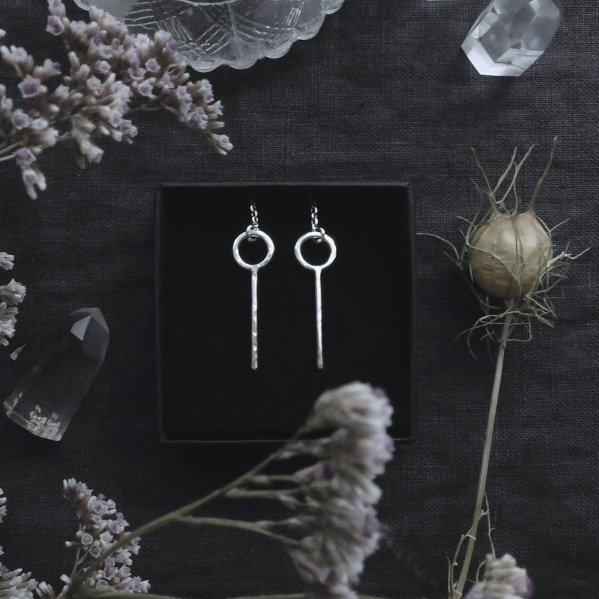 Image of SEIDR. SOL EARRINGS, RUNE OF HEALING ↟ sterling silver - Sól, Medieval Rune of Healing and Magick