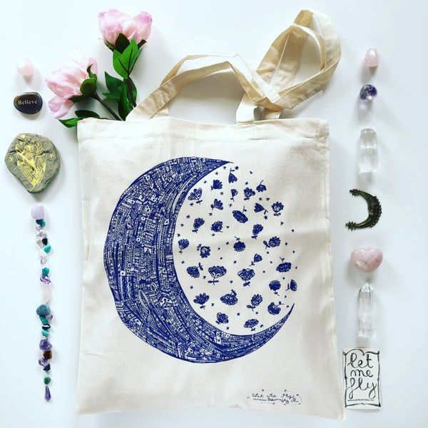 Image of Tote Bag *Moon & her Flowers*