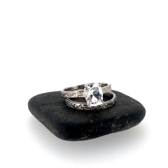 Image of 1.6 carat cushion cut white topaz engagement ring and wedding band set