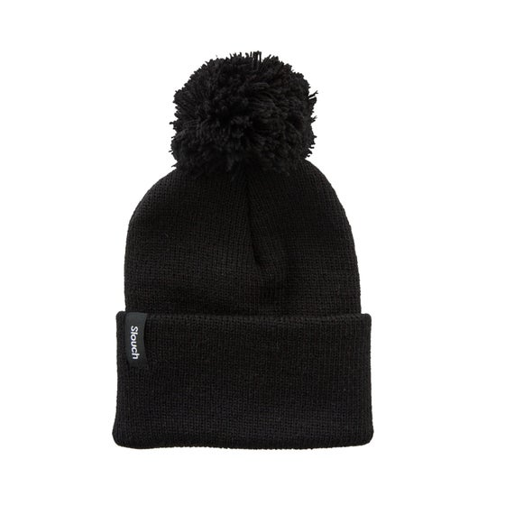Image of Black Knit Cuff Beanie w/ Pom