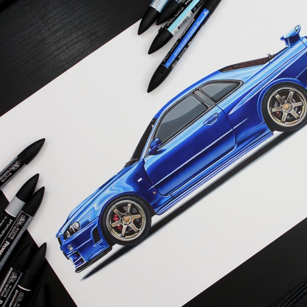 Image of Nissan Skyline GT-R (R34) Original Artwork