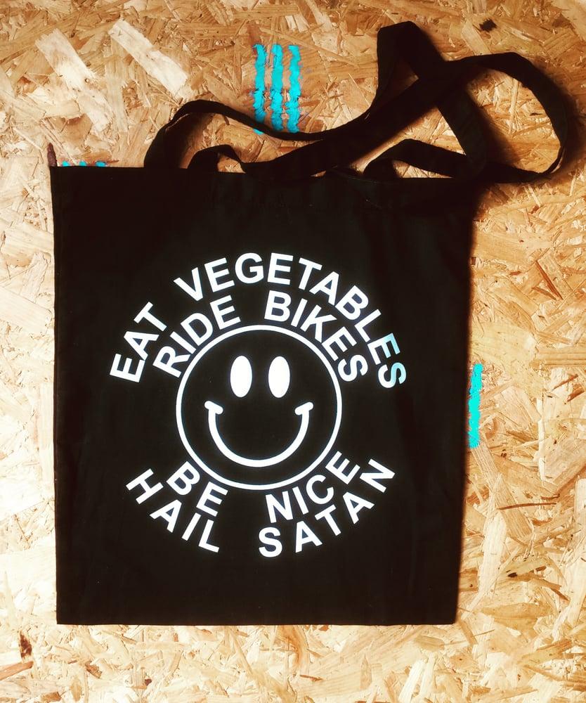 Image of Eat Veg Ride Bikes Be Nice Hail Satan tote bag
