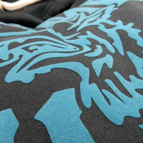 Image of GAME-WORN Super Heavyweight Pullover Hooded Sweatshirt - Charcoal Black/Teal