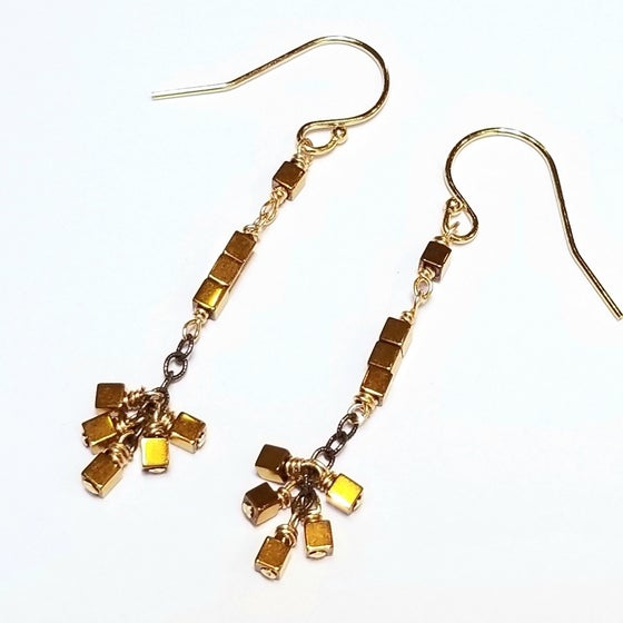 Image of Mix-metal Golden Hematine Cube Earrings