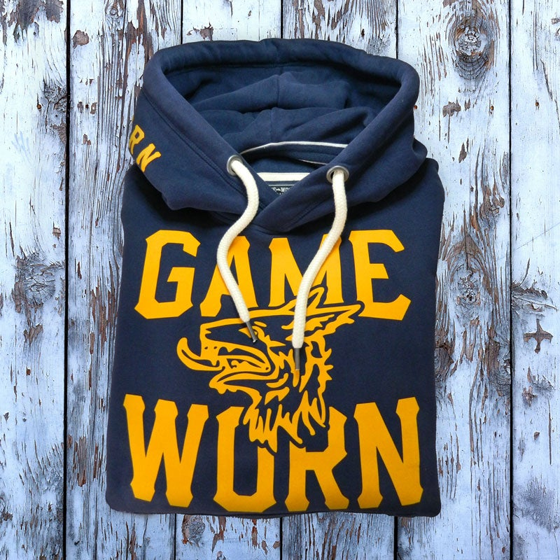 Image of GAME-WORN Super Heavyweight Pullover Hooded Sweatshirt - Vintage Navy/Gold