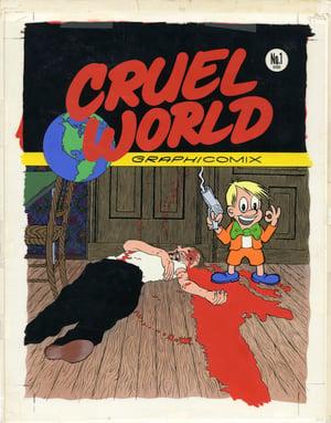 Image of CRUEL WORLD original blueline art