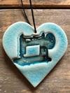 Teal vintage sewing machine heart
