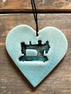 Teal sewing machine heart
