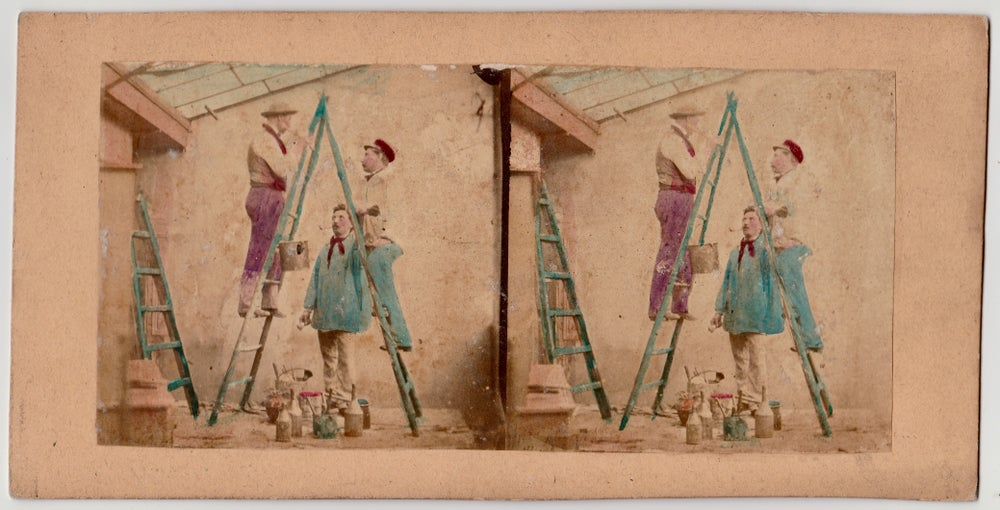 Image of Anonymous: painting the skylight studio, ca. 1860