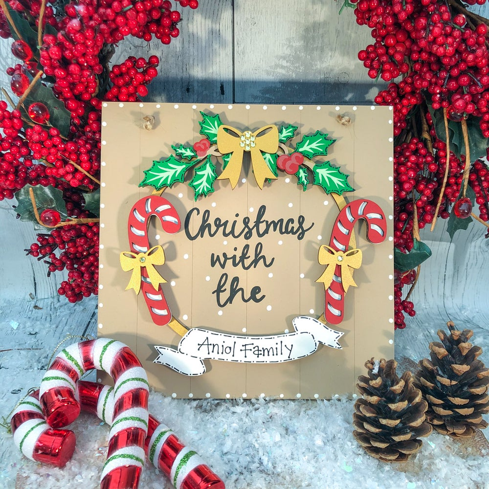 Image of Candy Cane Wreath (round or square)
