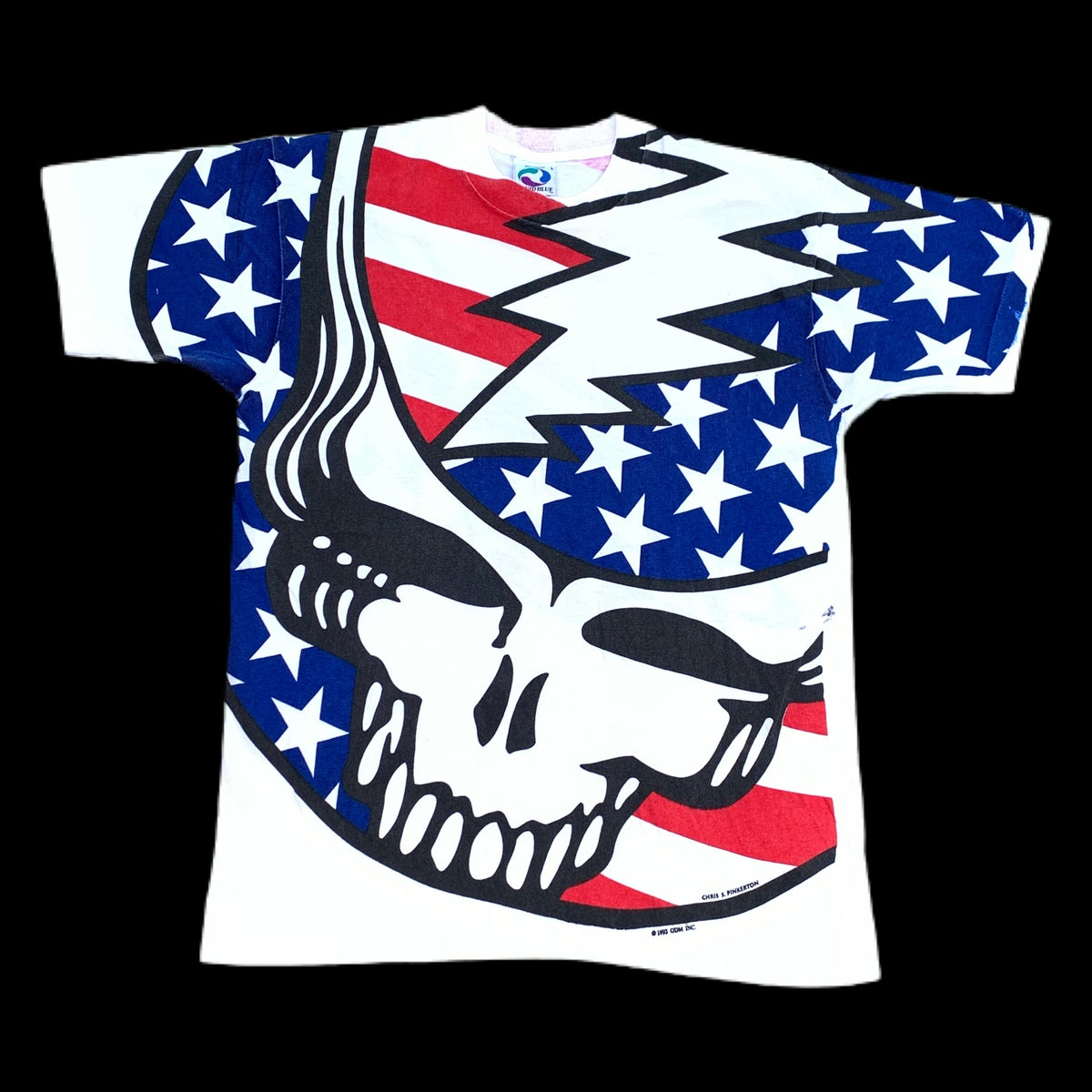 Original Vintage 1990's Grateful Dead American Flag All Over Tee - Large!