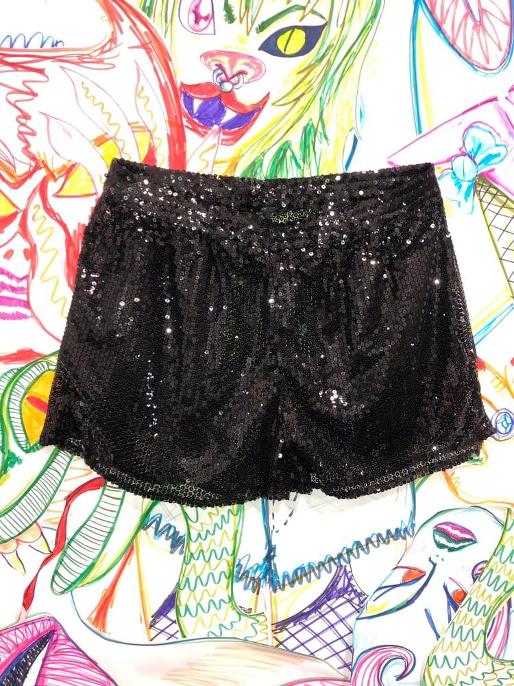 Image of Transparent Black Sequin shorts