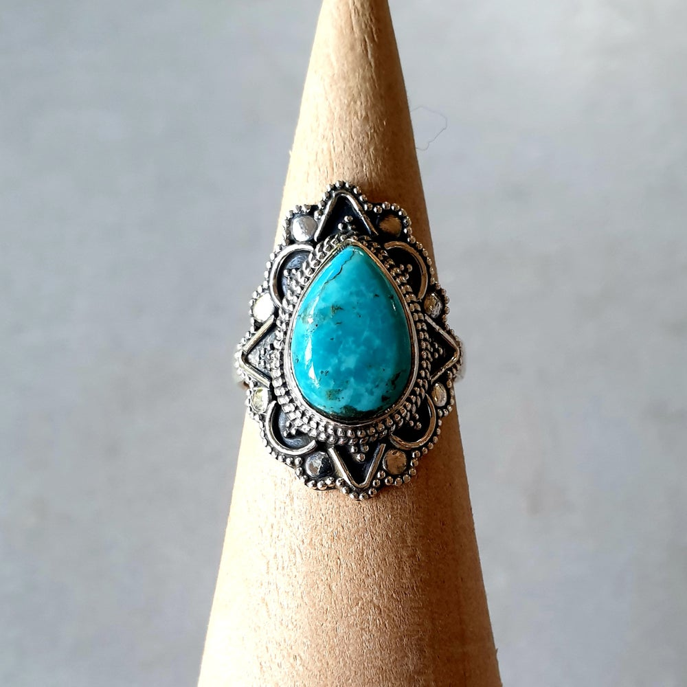 Image of TURQUOISE Star Flower Ring - Size 7