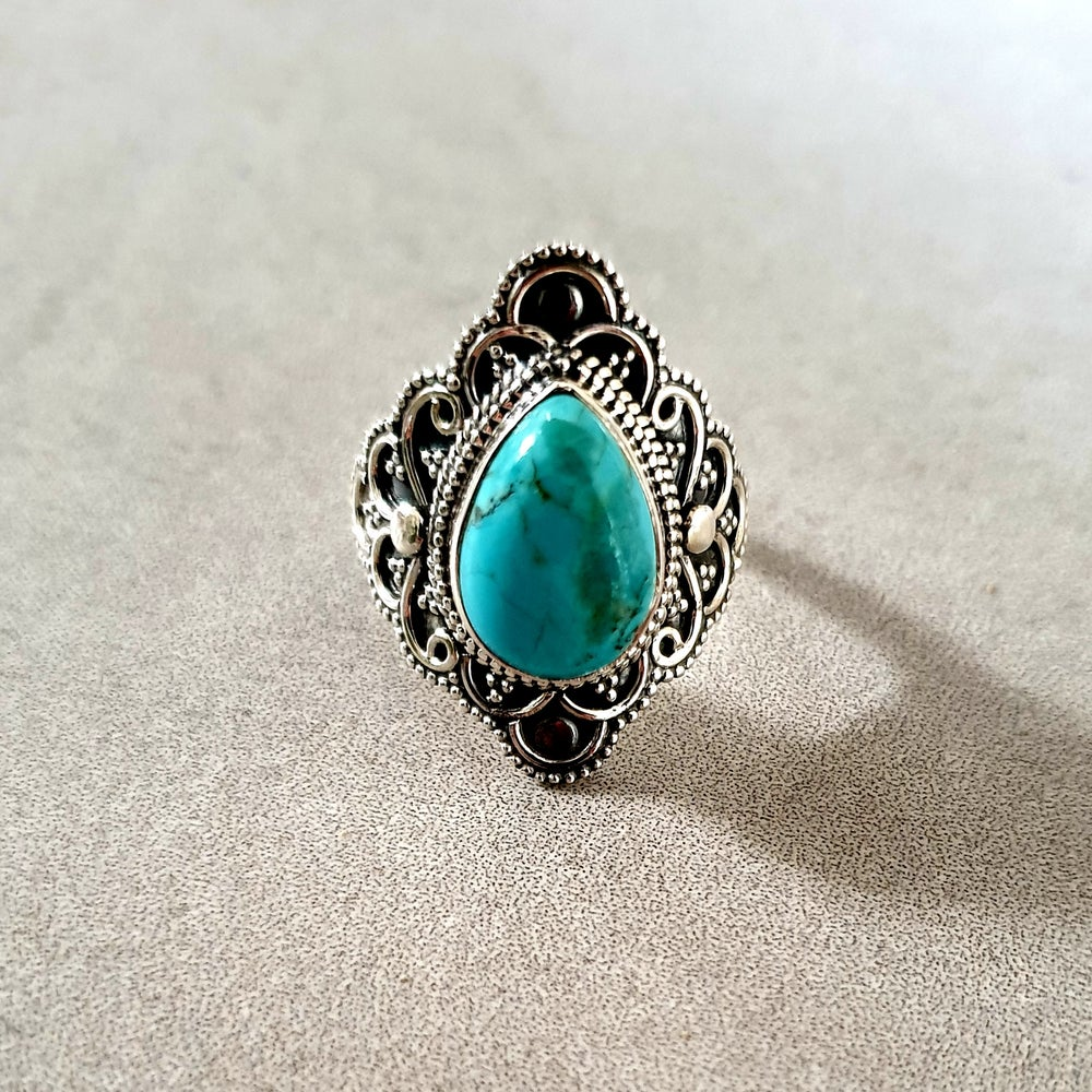 Image of TURQUOISE Blossom Flower Ring - Size 6.5 & 8
