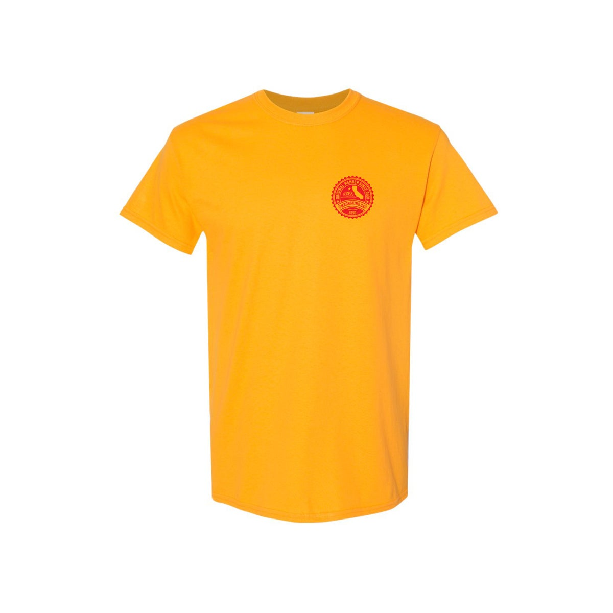 Image of Wrongkind Stamp T-Shirt (Gold w/ Red)
