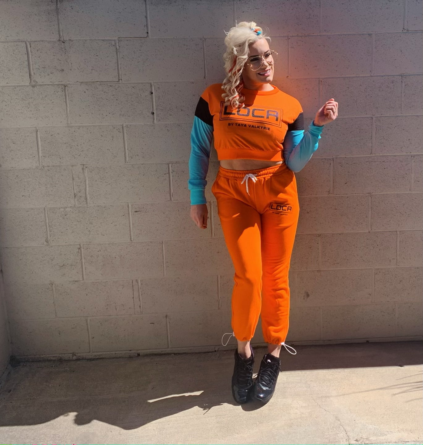 Image of LOCA High Waisted Sweatpants in Orange Crush