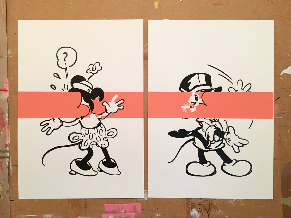 Image of Mickey and Minnie (Pink Stripe)