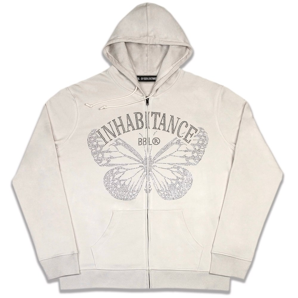 Image of Inhabitance Rhinestone Zip Up Hoodie (Cream)