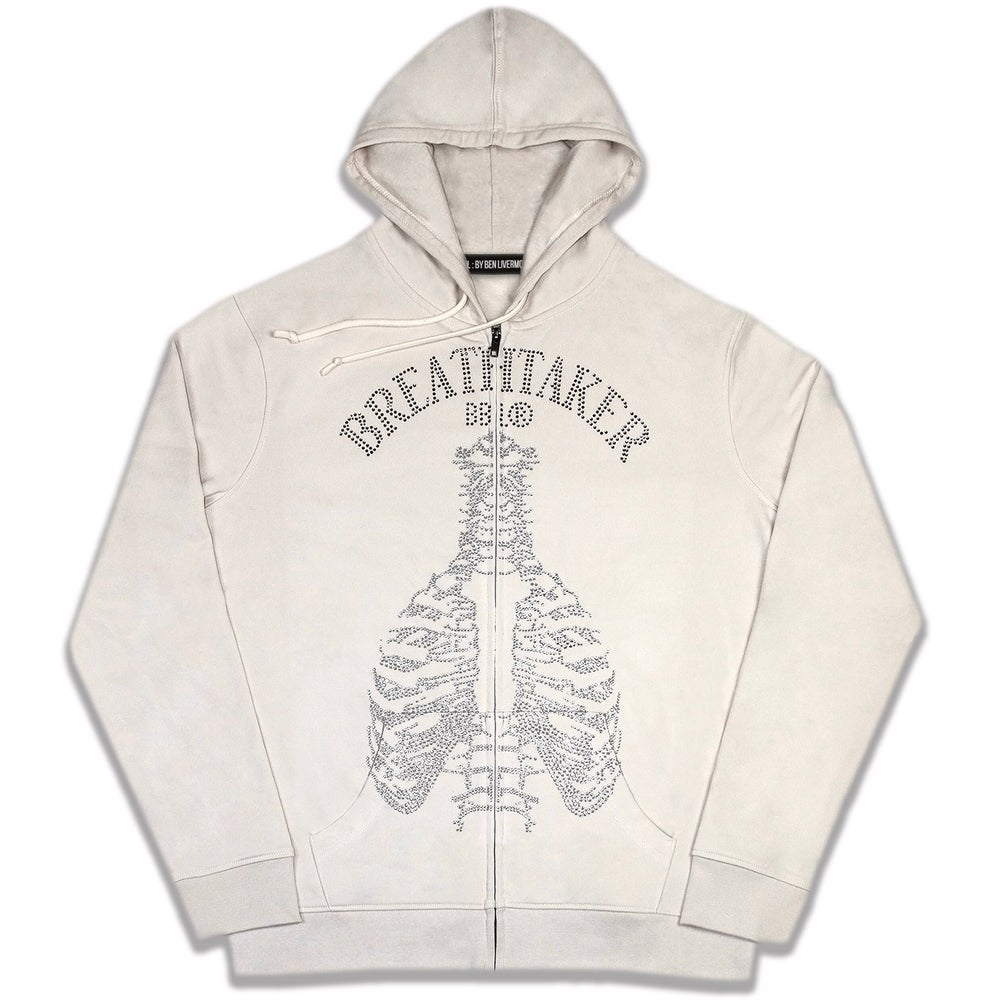 Image of Breathtaker Rhinestone Zip Up Hoodie (Cream)
