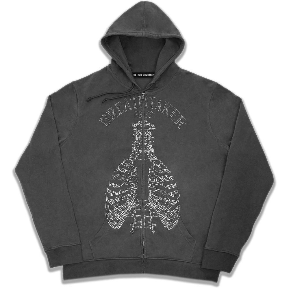 Image of  Breathtaker Rhinestone Zip Up Hoodie (Coal)