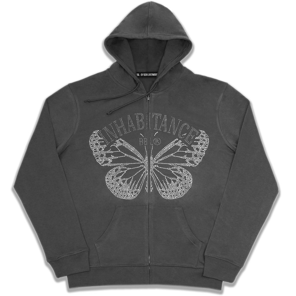 Image of Inhabitance Rhinestone Zip Up Hoodie (Coal)
